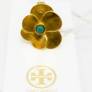 Tory Burch Gold & Turquoise Floral Ring- New/ Tags